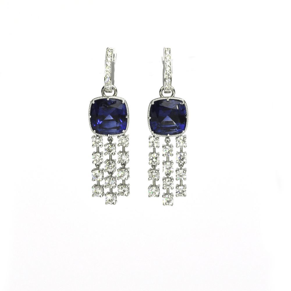 Luxury Dangles - 18 Karat White Gold Blue Sapphire & Diamond Earrings