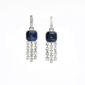 Load image into Gallery viewer, Luxury Dangles - 18 Karat White Gold Blue Sapphire & Diamond Earrings