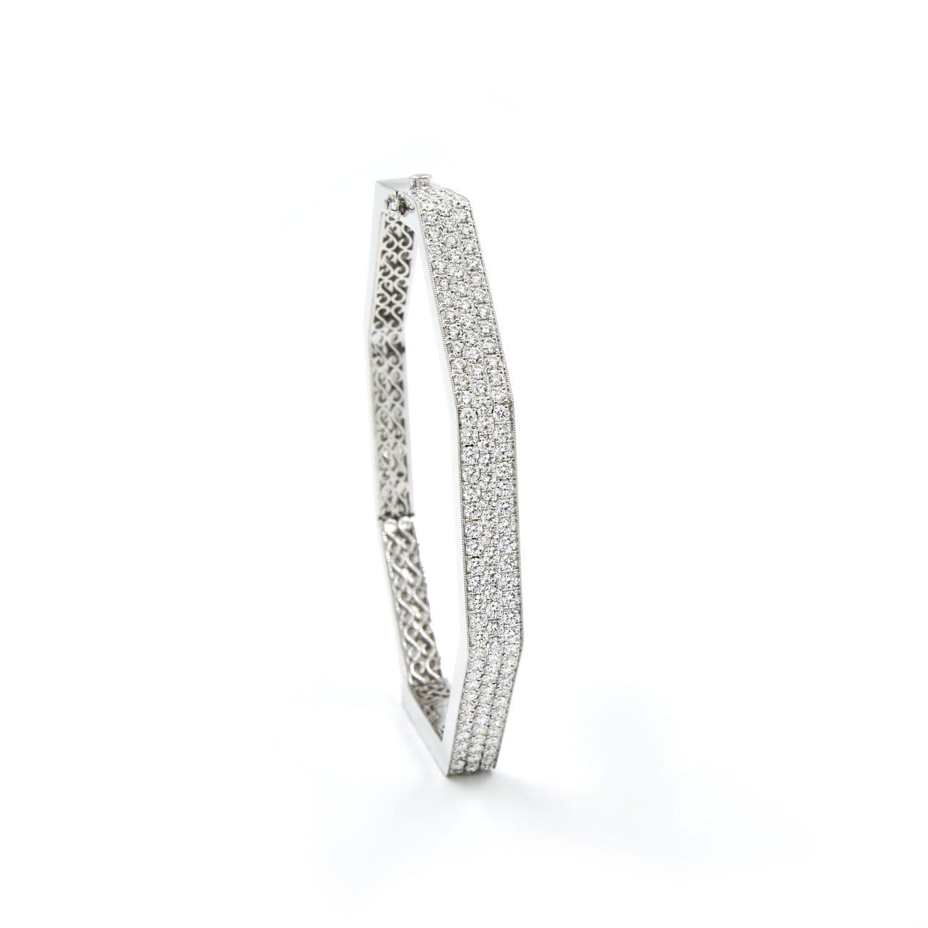 FENG SHUI WIDE WHITE GOLD DIAMOND BANGLE - Chris Aire Fine Jewelry & Timepieces
