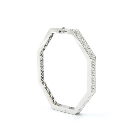 FENG SHUI WIDE WHITE GOLD DIAMOND BANGLE