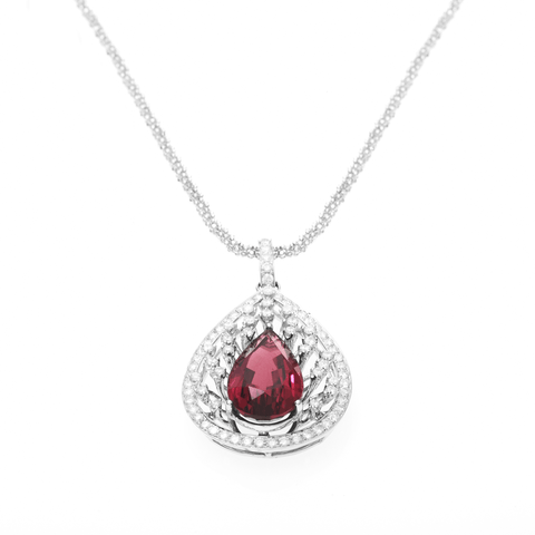BLOOD TOURMALINE PENDANT - HIBISCUS