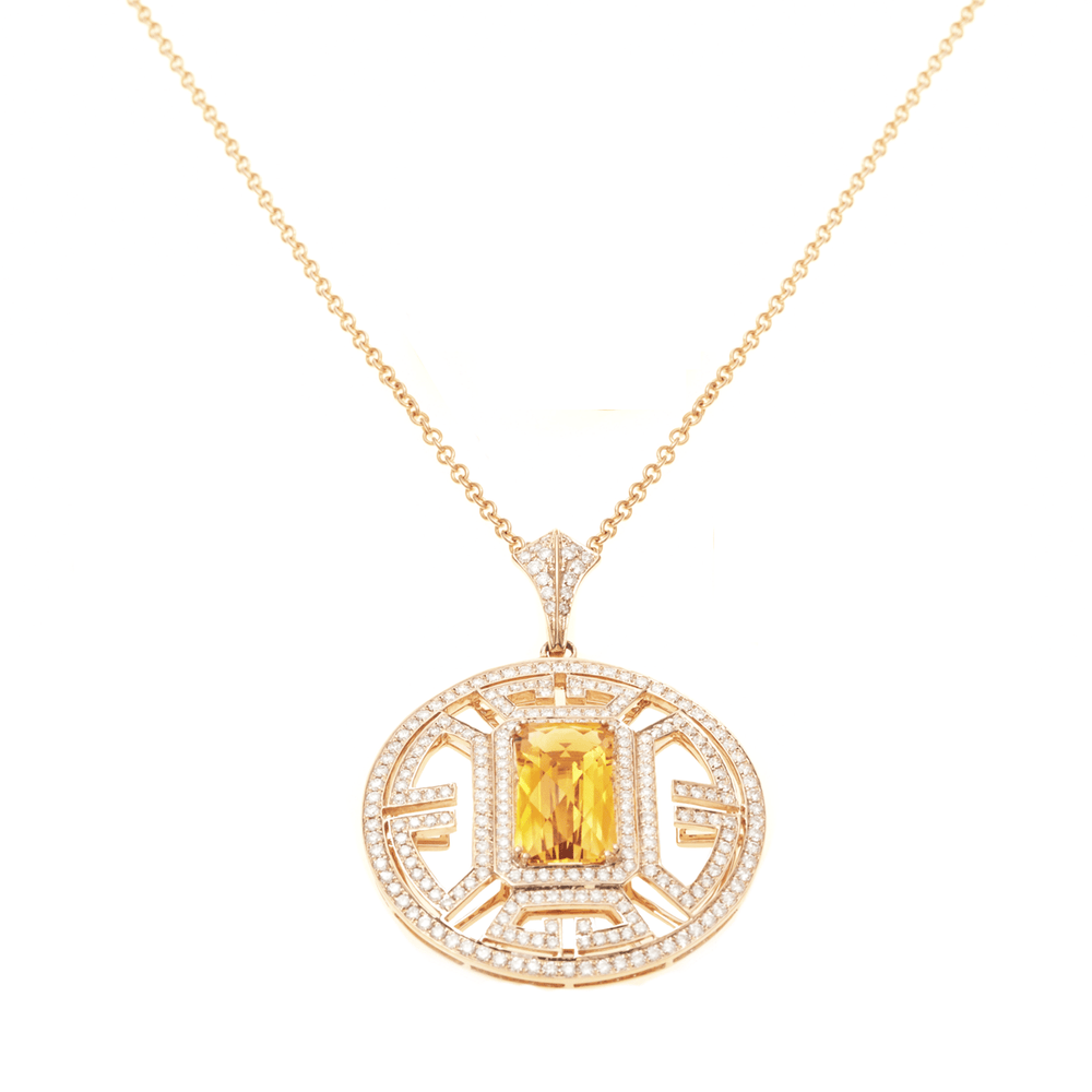 Wisdom - Diamonds and Citrine Gemstone Necklace