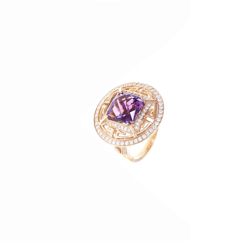 Chameleon Ring - Amethyst and Diamonds Ring