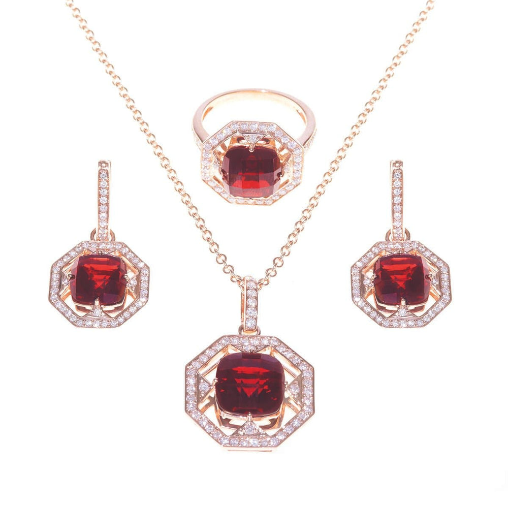 Faith Jewelry Set - 18 Karat Amber Hue Gold, Diamonds and Garnet - Red Gold®