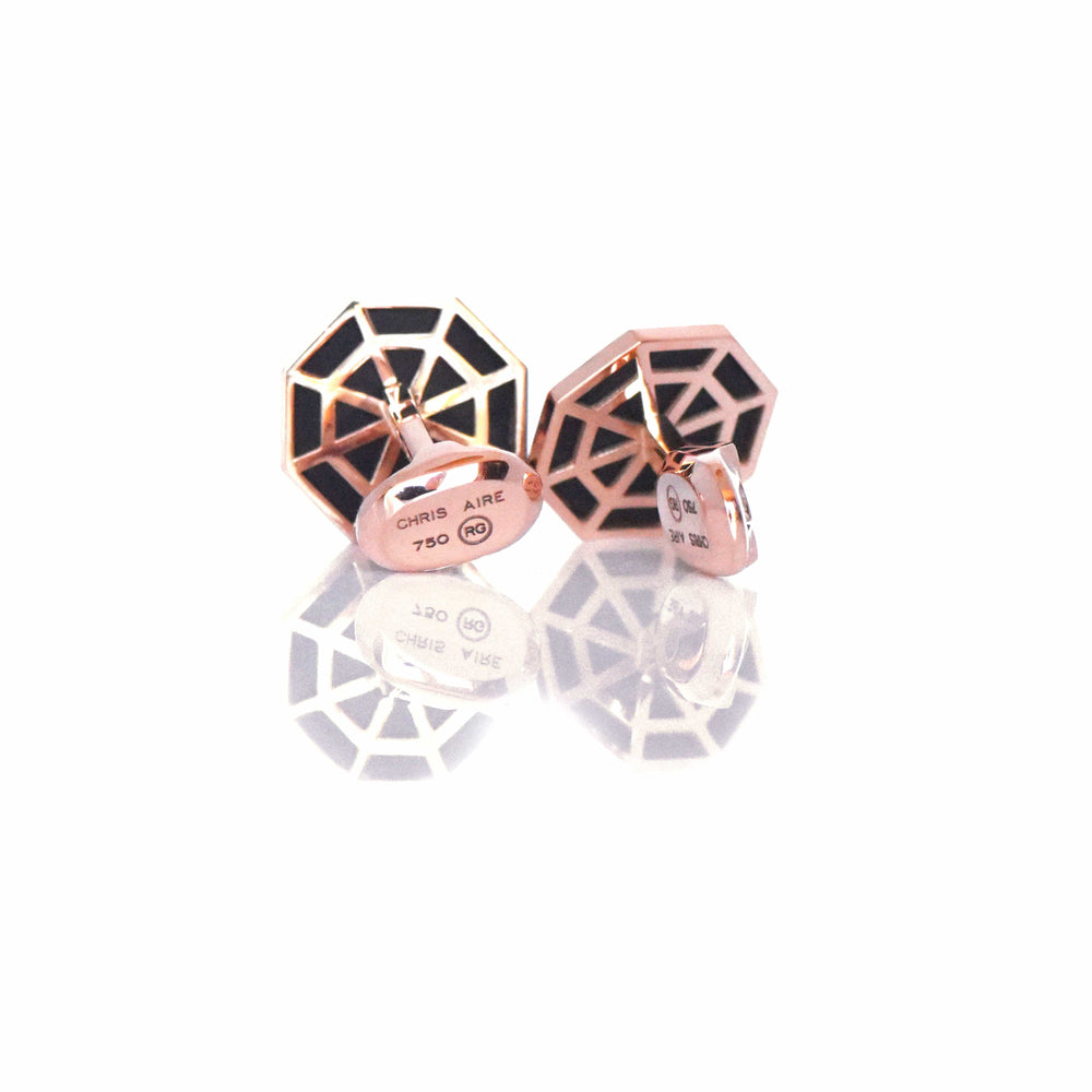 Celestial 18K Gold & Onyx Cufflinks - Red Gold®