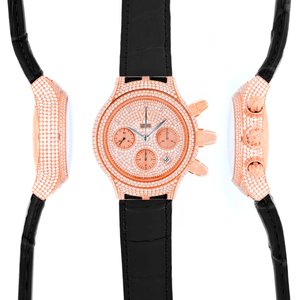 Aire Parlay Swiss Made High Jewelry Chronomatic 18 Karat Gold Full Diamond Watch - Red Gold®