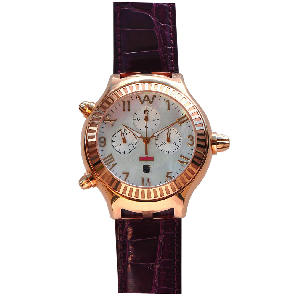 Aire Parlay Ambidextrous Swiss Made 18 Karat Solid Gold Over-Sized Unique  Watch - RED GOLD®