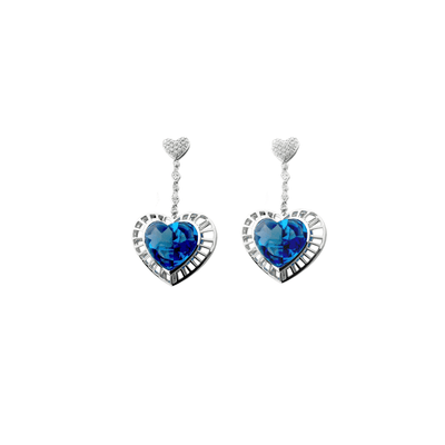 Blue Topaz Heart Earrings in 18 Karat White Gold
