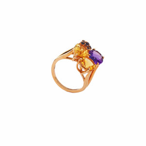 18 Karat Amber Hue Gold Gemstones Ring – Hollywood Royalty Ring - Chris Aire Fine Jewelry & Timepieces
