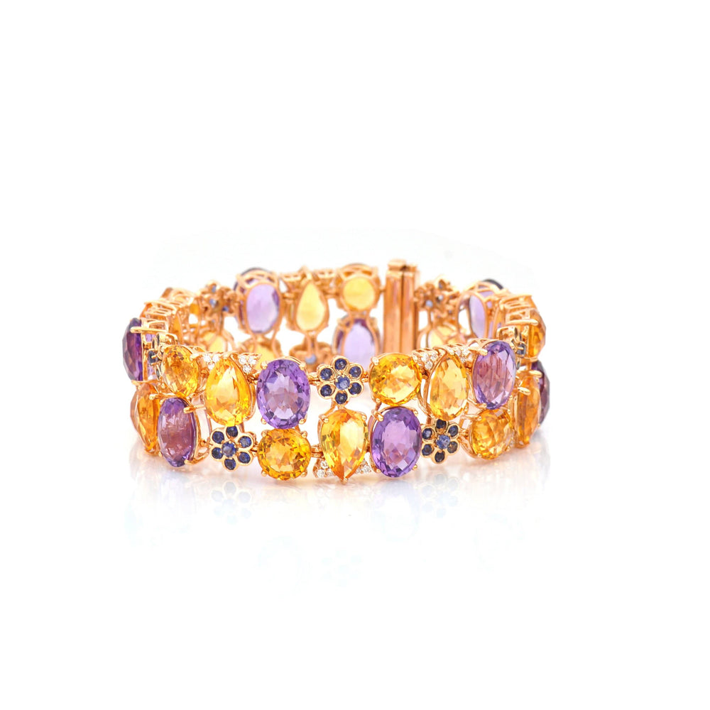 18 KARAT AMBER HUE GOLD MULTI-COLOR GEMSTONES BRACELET - HOLLYWOOD ROYALTY BRACELET - Chris Aire Fine Jewelry & Timepieces