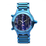 Aire Parlay Ambidextrous Swiss Made Chronograph Over-Sized Blue Watch