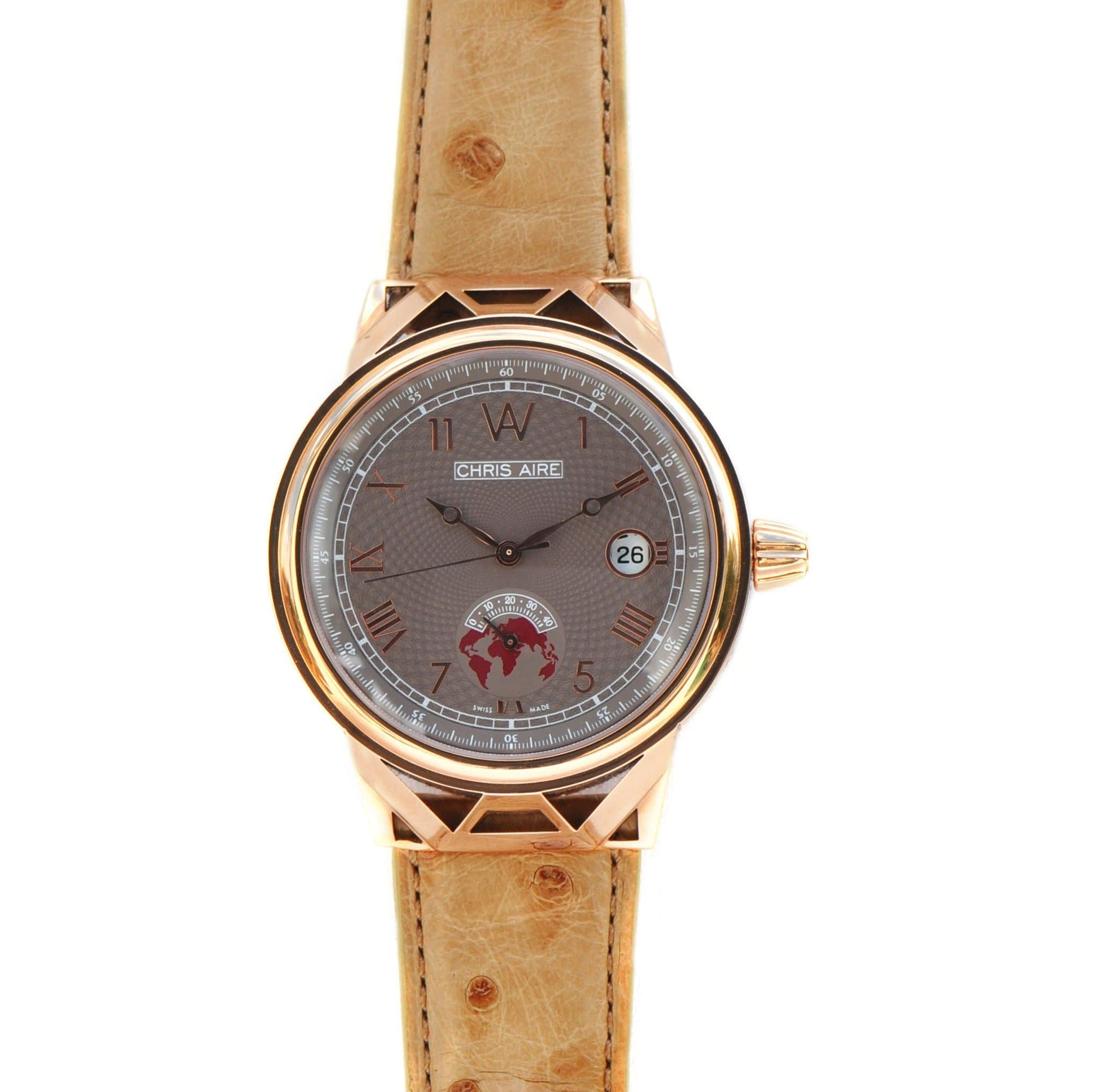 Aire Capitol Hill Watch Swiss Made 18 Karat Solid Gold Power Reserve Luxury Rare Watch - Red Gold®