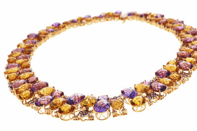 18 Karat Amber Hue Gold Gemstones Necklace – Hollywood Royalty Necklace - Chris Aire Fine Jewelry & Timepieces