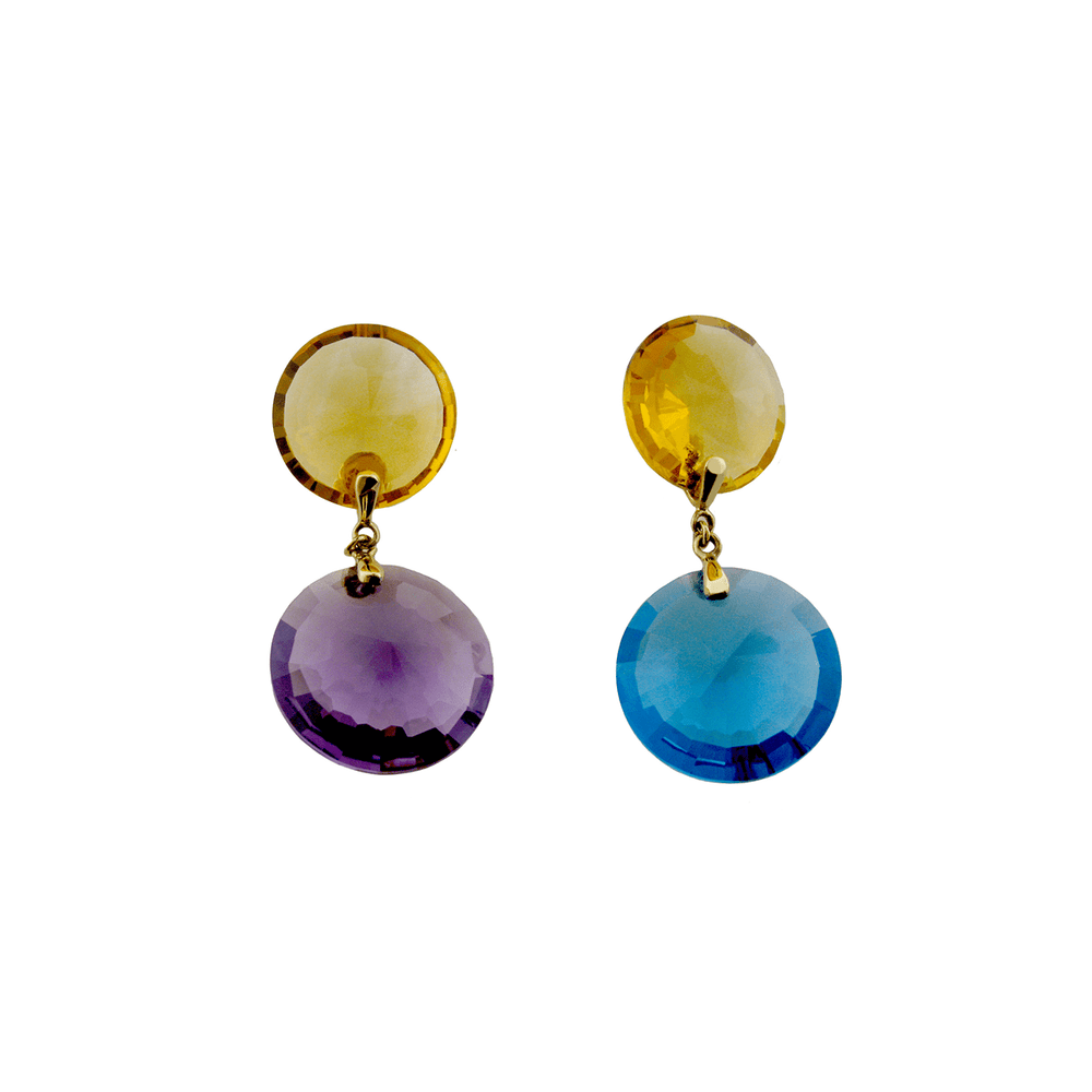 Ployglot Earrings - 18 Karat Yellow Gold and Gemstones