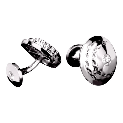 Cylinder Cufflinks - 18 Karat White Gold and Diamond Cufflinks