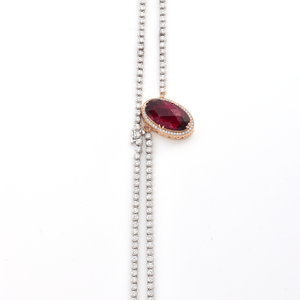 Power Necklace - Diamonds and Rubellite Gemstone