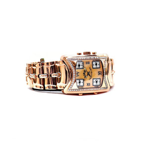 Aire Traveler 5 Time Zone Swiss Made  18 Karat Solid Gold Over-Sized Watch - Red Gold®