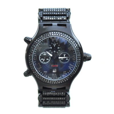 Aire Parlay Swiss Made Automatic Chronograph Ambidextrous Over-Sized Mens Black Diamond Watch Watch