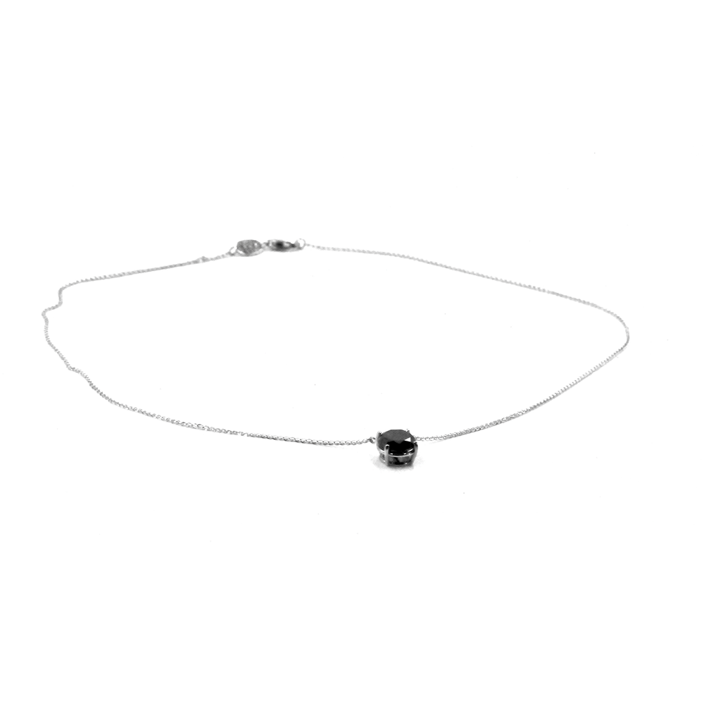 New-Black Diamnd Solitaire Necklace