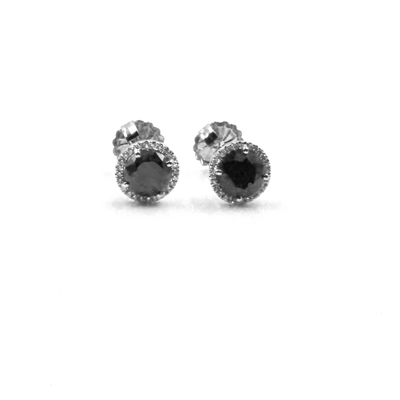 New- 2.00 Carats Black Diamond Stud