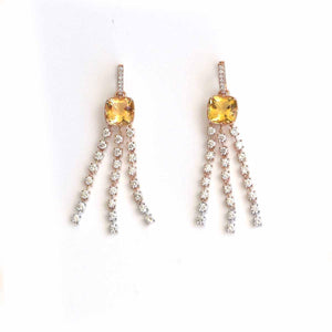 Load image into Gallery viewer, Luxury Dangles - 18 Karat Gold  Diamonds And Yellow Aquamarine Earrings