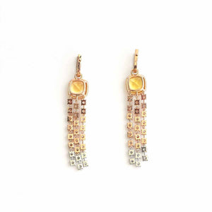 Luxury Dangles - 18 Karat Gold  Diamonds And Yellow Aquamarine Earrings