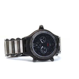Aire Parlay Swiss Made Ambidextrous Chronograph Over-Sized Mens Black and White Diamonds Watch