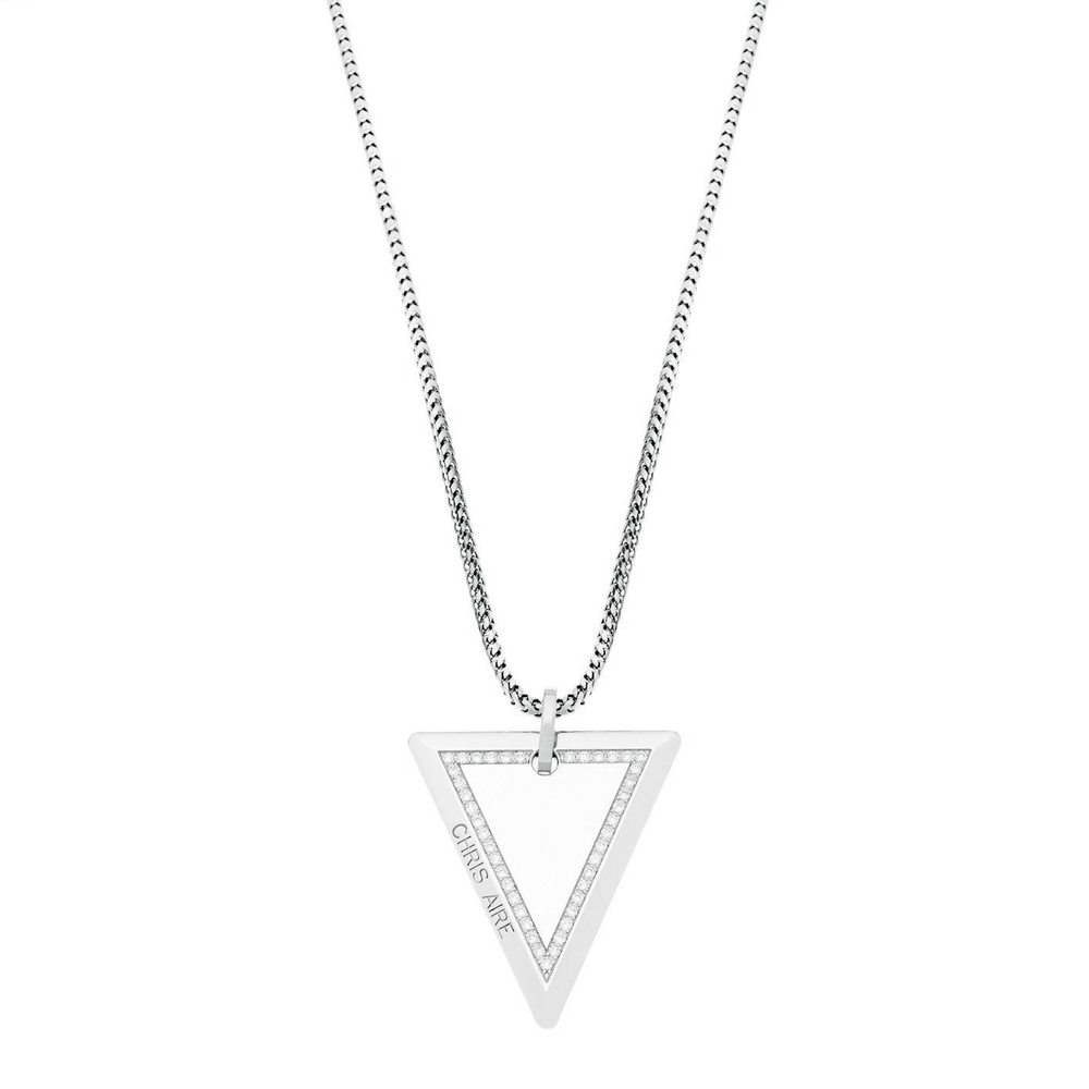 WHITE GOLD  NECKLACE - MEDIUM TRI-TAG