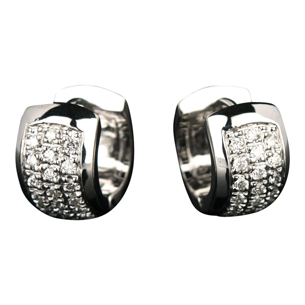 Wide Huggies Earrings - 18 Karat White Gold Diamond Earrings