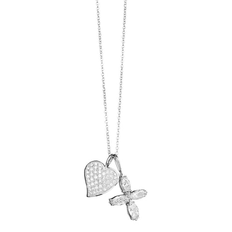 Diamond Heart and Cross Charm Necklace