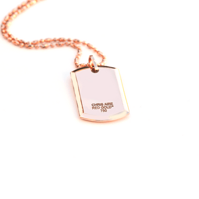 18 Karat Amber Hue Gold Full Diamond Custom Dog Tag with Rubies - Red Gold ®