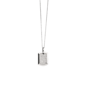 Small Dog Tag - 18 Karat White Gold Full Diamond Dog Tag Necklace