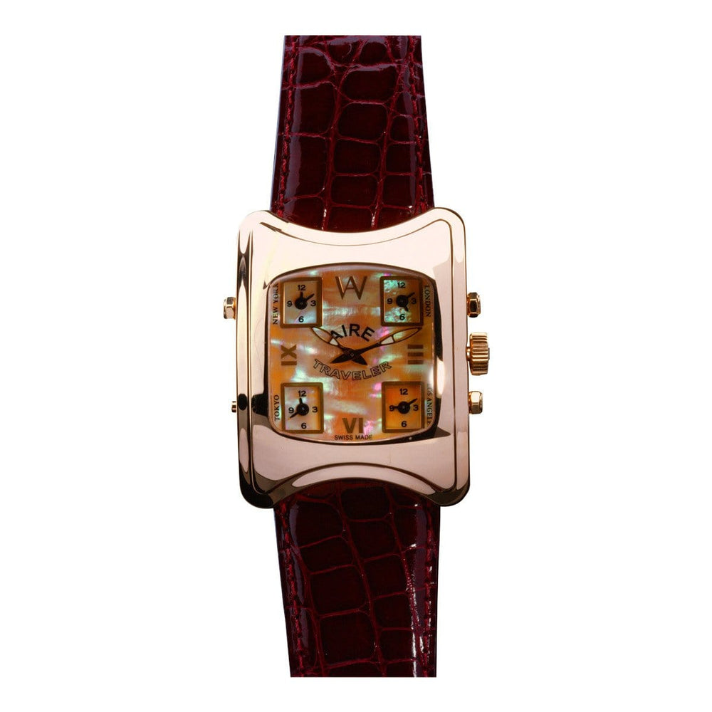 Aire Traveler Five Time Zones 18 Karat Solid Amber Hue Gold Unique Watch - Red Gold®