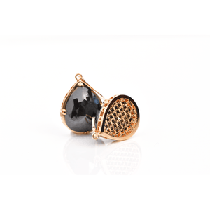 Load image into Gallery viewer, Lioness Earrings - Black Pear Shaped Diamonds