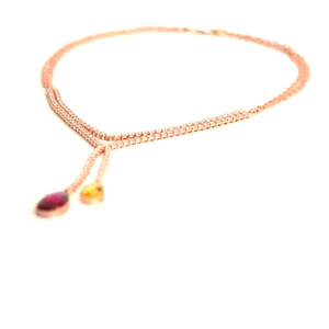 Load image into Gallery viewer, Gem Symphony - Red Tourmaline, Yellow Aquamarine and Diamonds Lariat