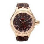 Aire Parlay Automatic GMT Swiss Made 18 Karat Solid Gold Rare Watch - Red Gold®