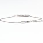 I Love Diamonds - 18 Karats Solid White Gold and Diamonds ID Bracelet