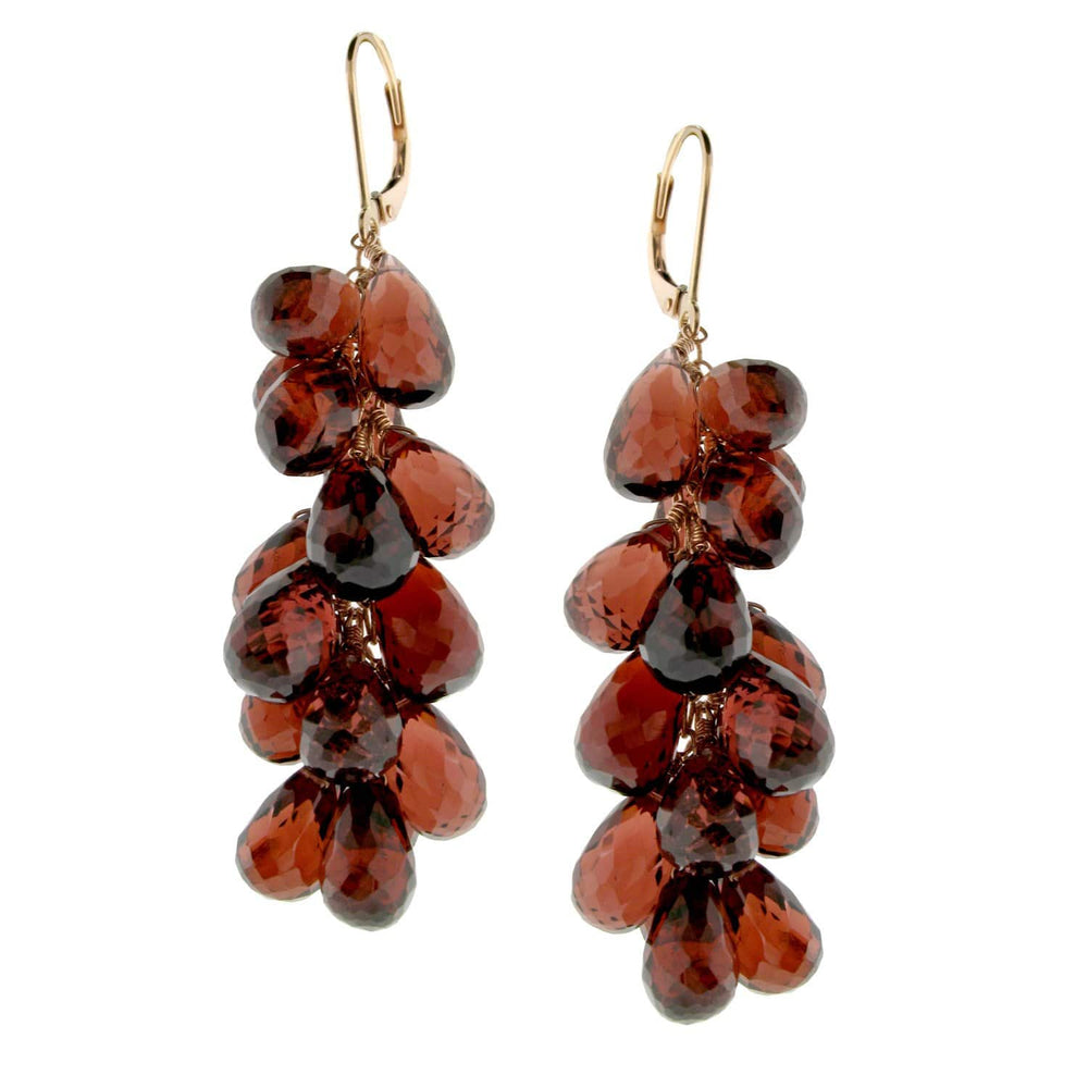 Grapes - 18 Karat Yellow Gold Garnet Gemstones and Pearls Earrings
