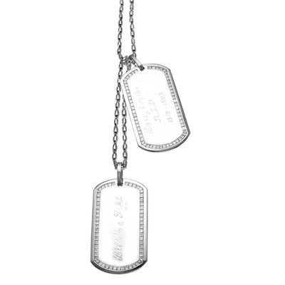 Military Dog Tags - 18 Karat White Gold Dog Tags