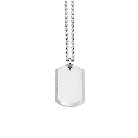 WHITE GOLD DOG TAG