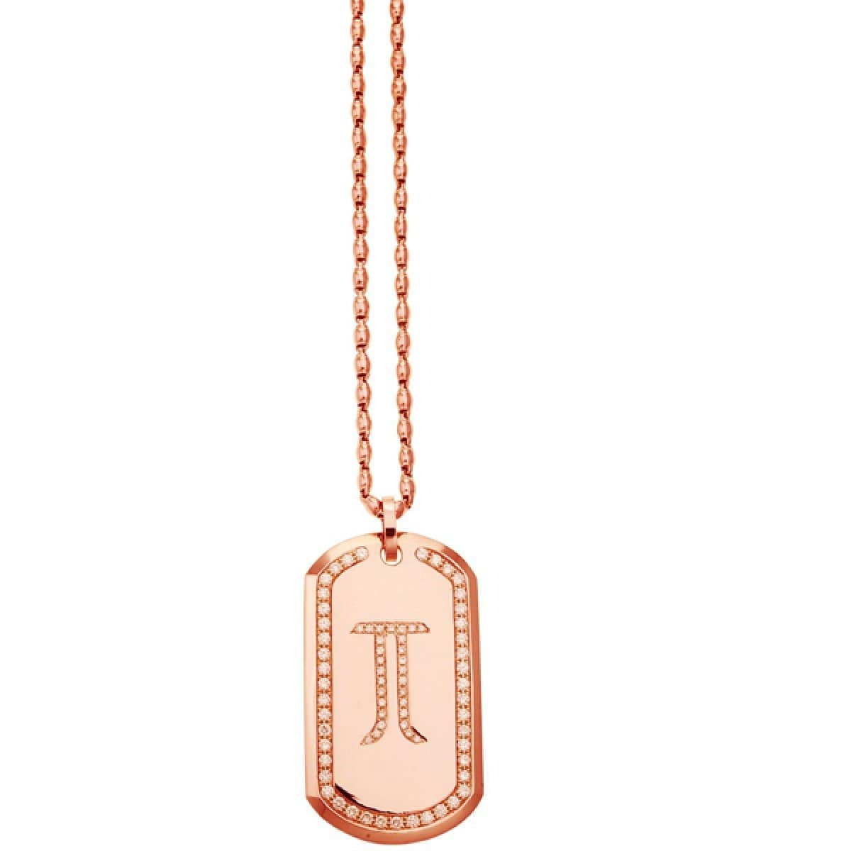 18 Karat Amber Hue Gold Gold Dog Tag Necklace - Red Gold®