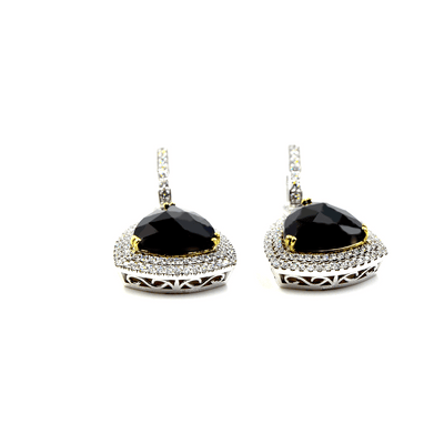 Mystere Earrings - 18 Karat White Gold Diamonds and Onyx