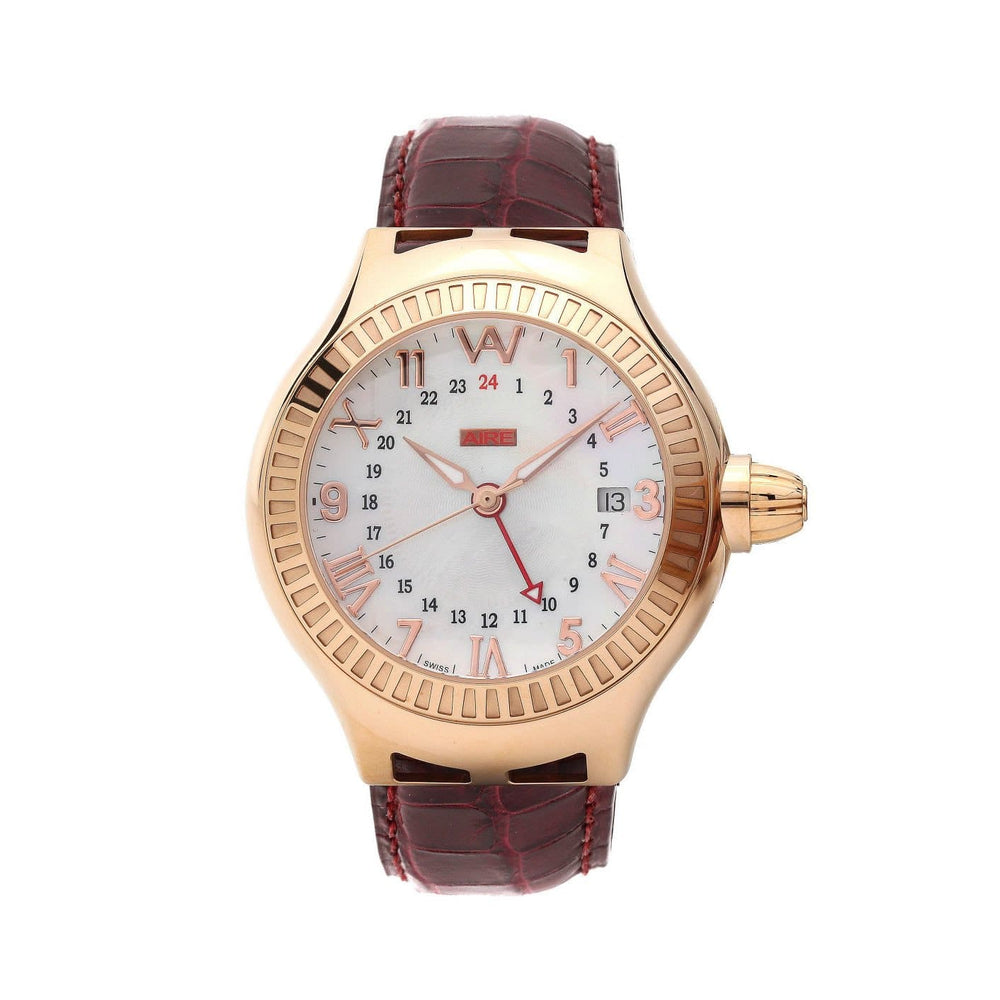 Aire Parlay GMT Automatic Swiss Made 18 Karat Solid Gold Rare Unisex Watch - Red Gold®