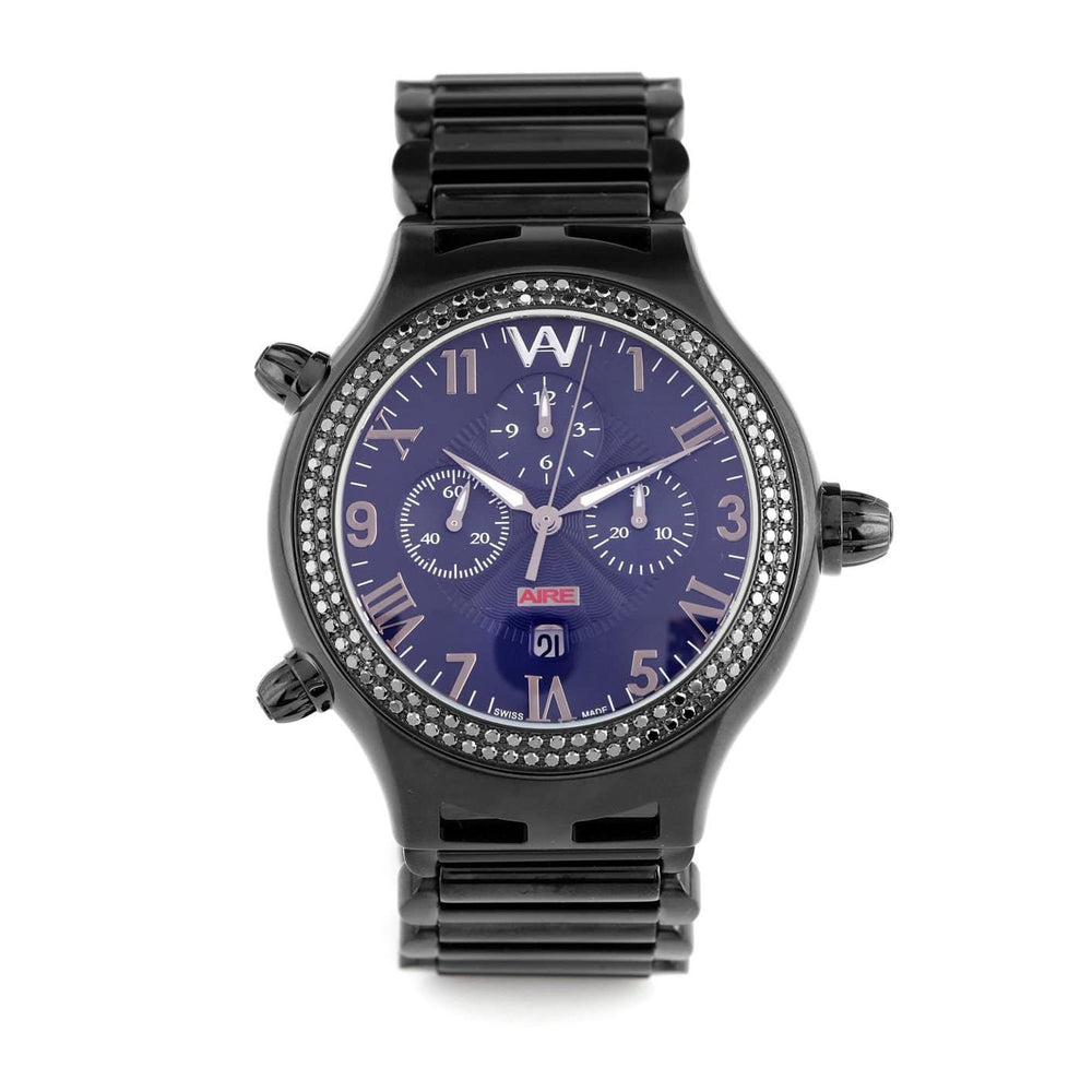 Aire Parlay Ambidextrous Swiss Made Over-Sized Chronograph Black Watch