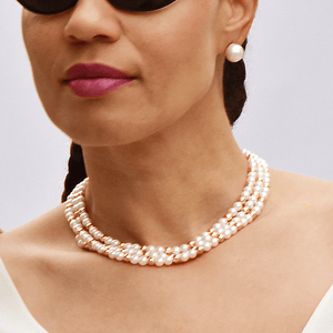 Pearlngold- Cultured Pearls and Gold Beads Necklace