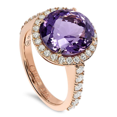 Diamond ring with Bolivian Amethyst - Chris Aire Fine Jewelry & Timepieces