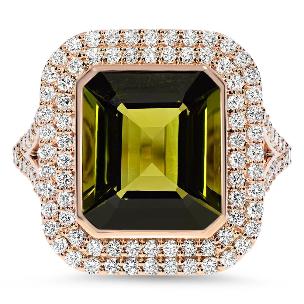 Diamond ring with green Tourmaline signature RED GOLD® collection - Chris Aire Fine Jewelry & Timepieces