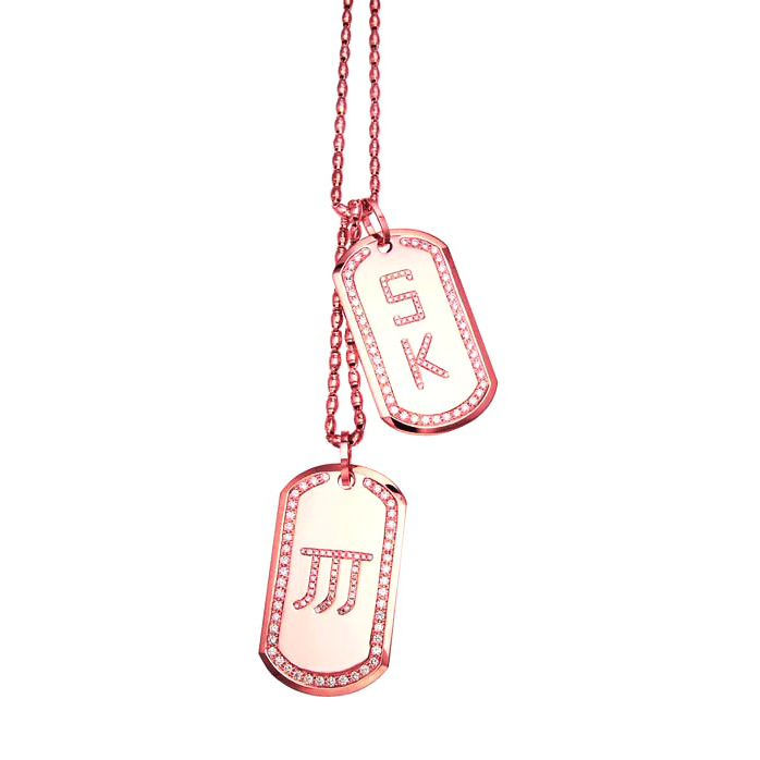 18 Karat Amber Hue Gold Diamond Monogram Dog Tags