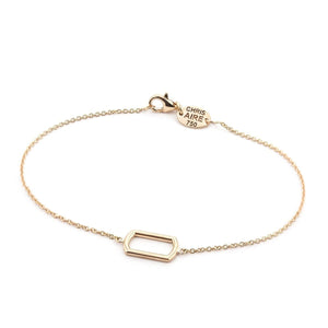 GOLD DOG TAG FRAME BRACELET-Amber Hue - Chris Aire Fine Jewelry & Timepieces