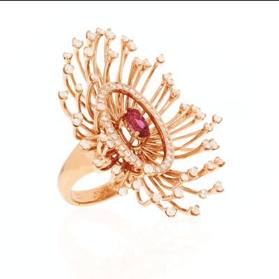 Salute to the Sun Ring - 18 Karat Amber Hue Gold  Diamond Ring